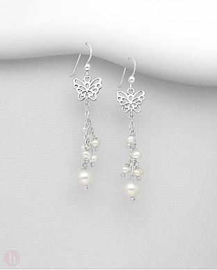 Cercei lungi din argint cu fluturas si perle albe
