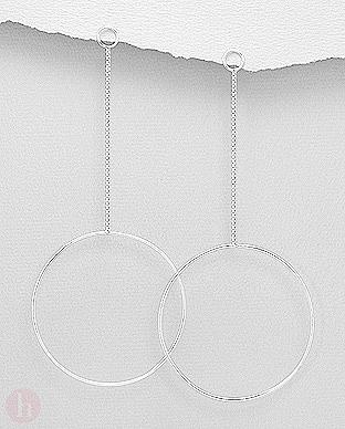 Cercei lungi din argint cu forme geometrice si lantisoare