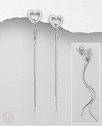 Cercei lungi din argint cu inima, cristale si lantisoare