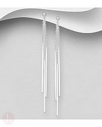 Cercei lungi din argint cu lantisoare, bare si bilute