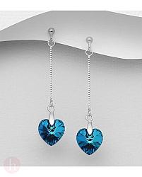 Cercei lungi din argint cu lantisor si inima Swarovski albastra