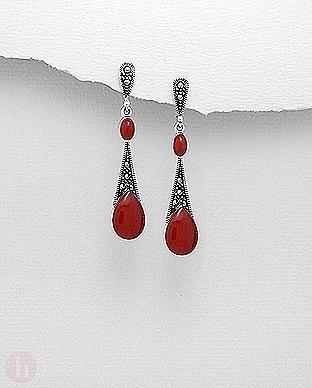 Cercei lungi din argint cu marcasite si pietre rosii