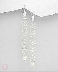 Cercei lungi din argint cu perle albe