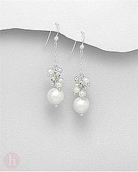 Cercei lungi din argint cu perle si lantisor
