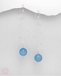 Cercei lungi din argint cu pietre semipretioase albastre