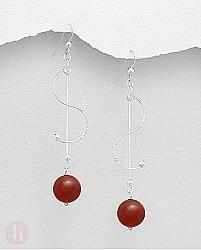 Cercei lungi din argint cu pietre semipretioase rosii de carneol