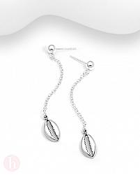 Cercei lungi din argint cu scoica, lantisor si biluta