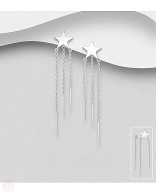 Cercei lungi din argint cu stea, bara si lantisor