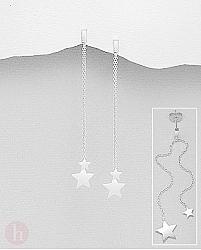 Cercei lungi din argint cu stelute si lantisoare