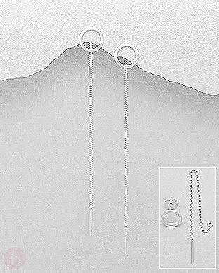 Cercei lungi din argint model cerc, bara si lantisor