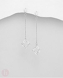 Cercei lungi din argint, model romb cu cristale albe si lantisor