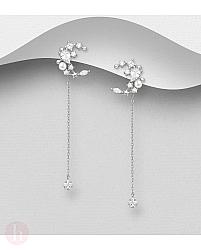 Cercei lungi din argint, model stea, luna si perla alba