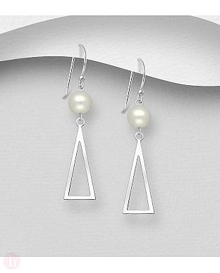 Cercei lungi din argint, model triunghi cu perla