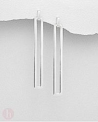 Cercei lungi din argint simplu, model dreptunghi