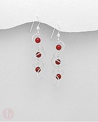 Cercei lungi spirale argint cu pietre rosii de coral