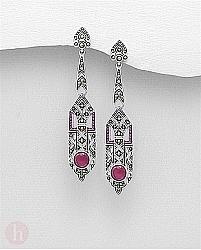 Cercei lungi, statement din argint cu marcasite si cristale rubin