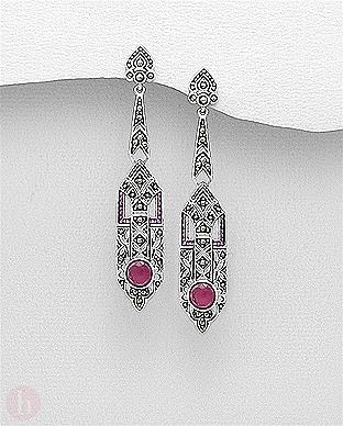 Cercei lungi, statement din argint cu cristale rubin si marcasite