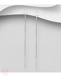 Cercei lungi, threader din argint cu triunghi, bara si lantisor