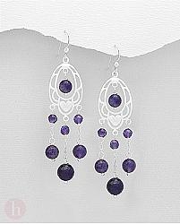 Cercei lungi tip candelabru din argint cu inima si pietre violet