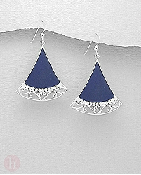 Cercei mari argint cu lapis lazuli