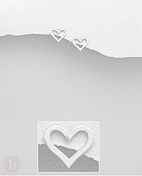 Cercei argint cu surub inima