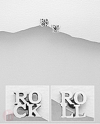 Cercei mici argint mesaj ROCK ROLL
