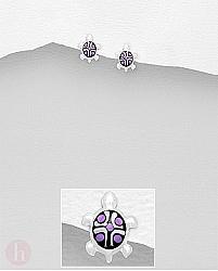 Cercei mici din argint cu broasca testoasa si carapace violet