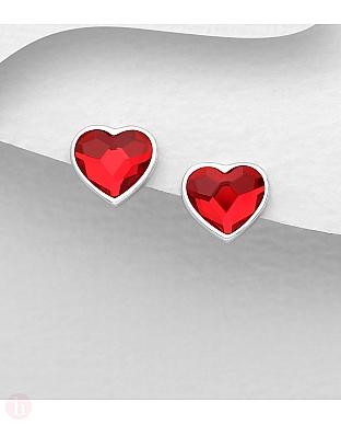 Cercei mici din argint cu cristal Swarovski inima rosie