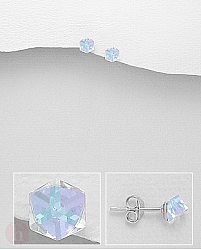 Cercei mici din argint cu cristal Swarovski autentic model cub