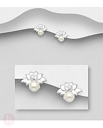 Cercei mici din argint cu floare de lotus si perla