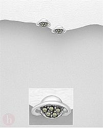 Cercei mici din argint cu marcasite, model planeta Saturn