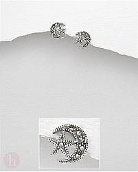 Cercei mici din argint cu marcasite, model stea si luna