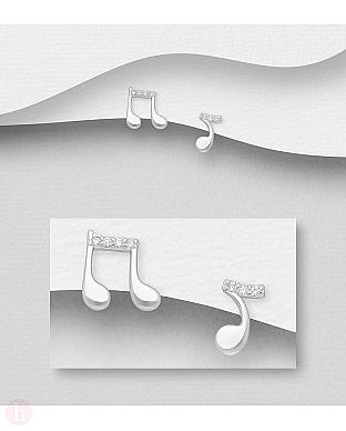 Cercei mici din argint cu note muzicale