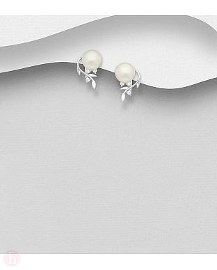 Cercei mici din argint cu frunze, perle albe si cristale