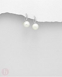 Cercei mici din argint cu perle si cristale albe