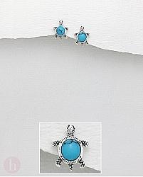 Cercei mici din argint cu piatra albastru turcoaz model broasca testoasa