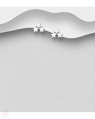 Cercei mici din argint cu stelute