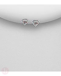 Cercei mici din argint in forma de diamant cu cristale