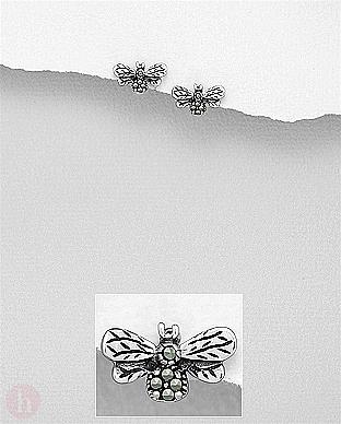 Cercei mici din argint model albina cu marcasite