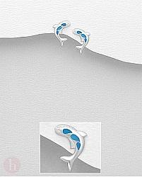 Cercei mici din argint model balena cu pietre albastre