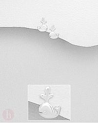 Cercei mici din argint model balena jucausa