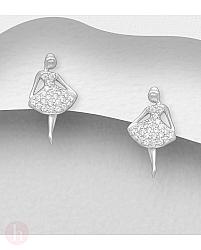 Cercei mici din argint model balerina cu cristale
