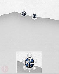 Cercei mici din argint model broasca testoasa cu carapace albastra
