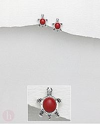 Cercei mici din argint model broasca testoasa cu piatra rosie