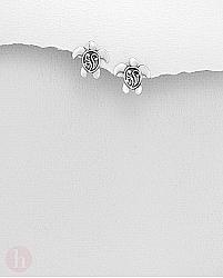Cercei mici din argint model brosca testoasa