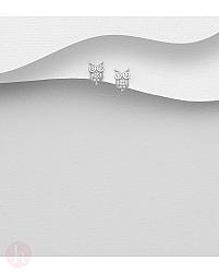 Cercei mici din argint model bufnita cu cristale