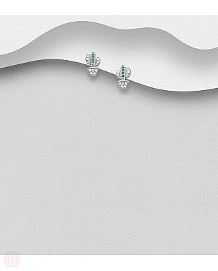 Cercei mici din argint model cactus