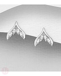 Cercei mici din argint model coada de balena