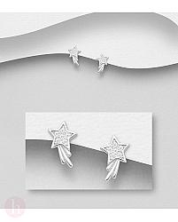 Cercei mici din argint model cometa cu cristale