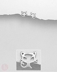 Cercei mici din argint model contur pisica